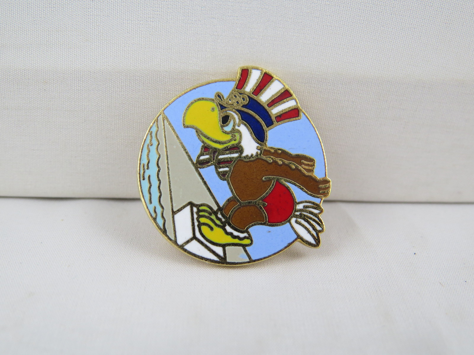 Primary image for 1984 Summer Olympic Games Pin - Swimming Event - Featuring Sam the Mascot