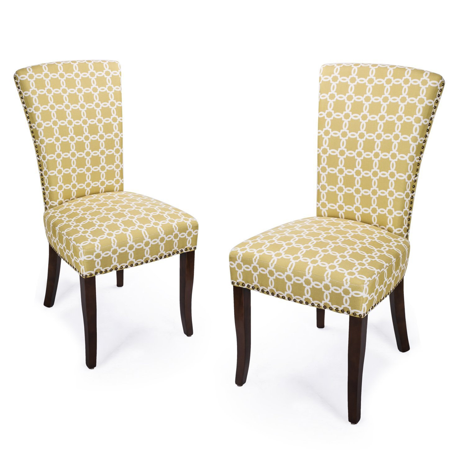 Adeco Floral Living Dining Chair with Birch Legs Set of