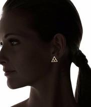 Set of ECRU metal Gold Plated Cutout Chevron Earrings NWT image 2