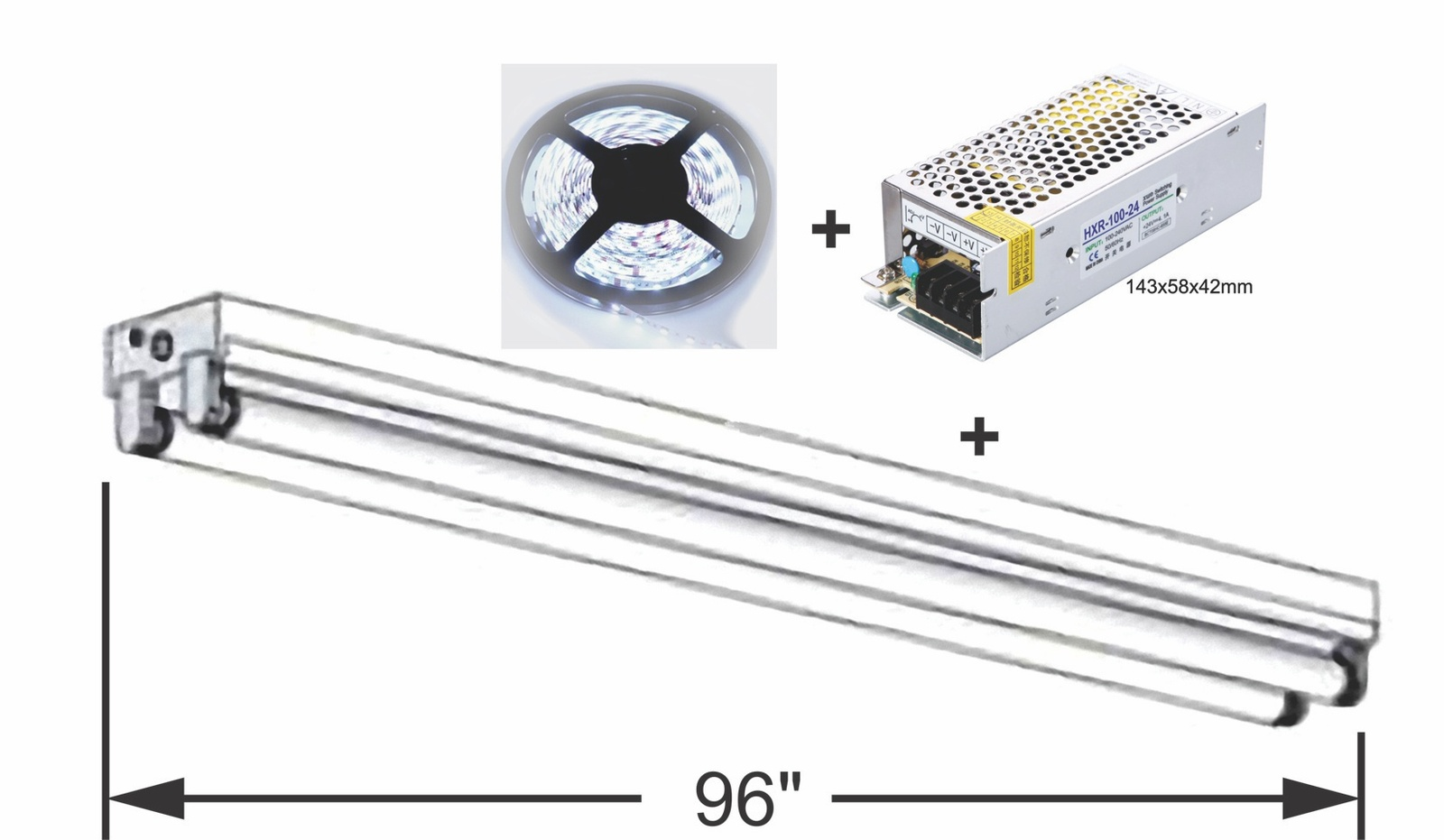 Kit: 100W Power Supply+ 2x 8' LED Strips, Bright White, Florescent Tube Retrofit