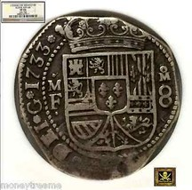 "Mexico 1733 8 Reales Philip V Ngc 35 ""Klippe Shape"" Very Rare Year Silver Coin - $3,950.00"