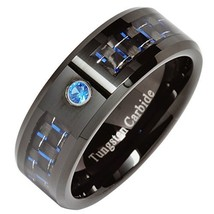 8mm Tungsten Ring Blue Cz Blue Carbon Fiber Inlay Mens Wedding Band Size... - $45.53
