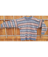 VTG Wool Sweater-XL-100% Wool-Salmon/Blue-Geometric-Nice-Ugly-Hipster-Un... - $84.14
