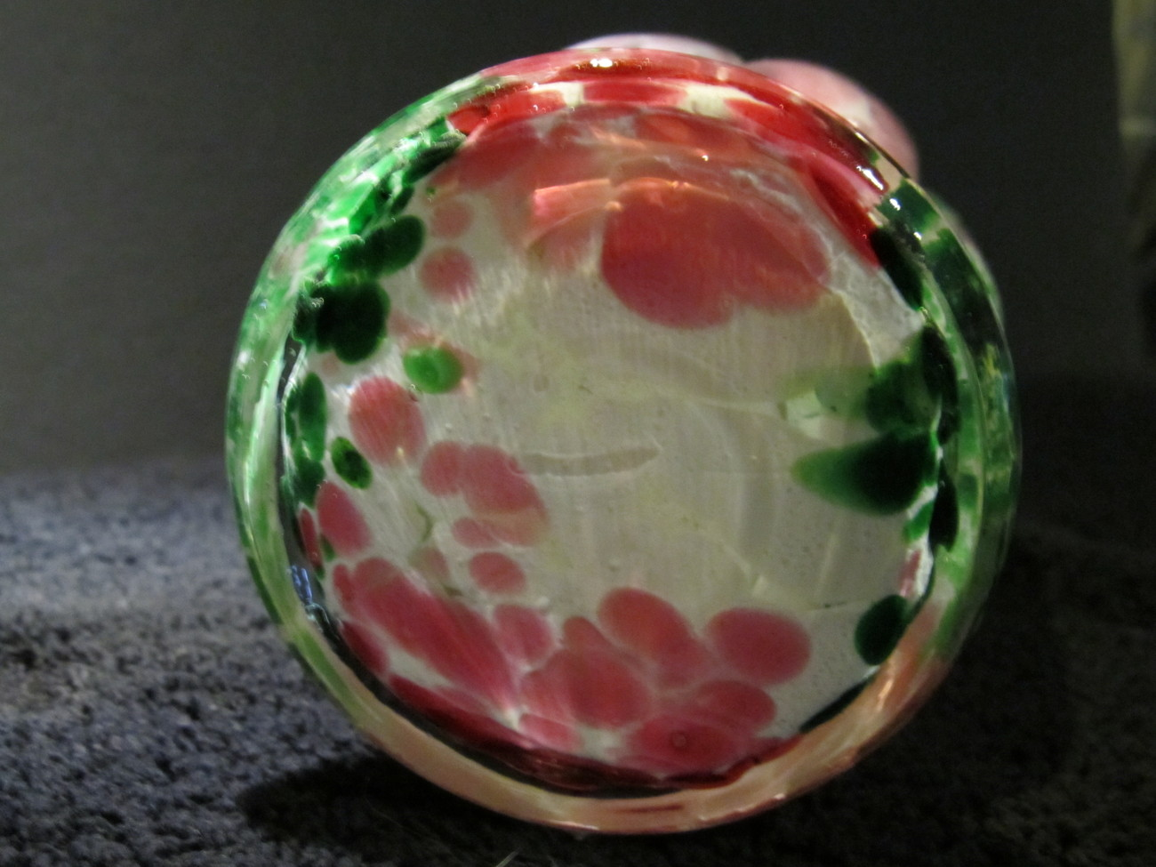 Murano 1960's Pink & Green Art Glass Spatter Vase With Wide Flared Crimped Rim