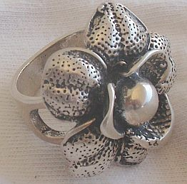 Silver  big flower ring