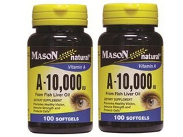 ( PACK 2 ) 100 SOFTGELS Natural VITAMIN A 10,000 IU 10000 FISH LIVER OIL... - $9.75