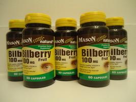60 X5 = 300 CAPSULES BILBERRY FRUIT 100 mg VISI... - $24.70