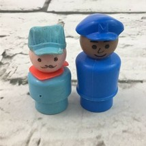 Vintage Fisher Price Little People Black Pilot & Short Blue Train Conductor - $11.88