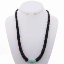 NAVAJO Indian Bead Necklace Natural Jet And Turquoise Discs Mark Kasuse ... - €93,18 EUR