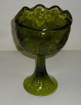 Vintage Diamond Design Green Glass Goblet - $99.99
