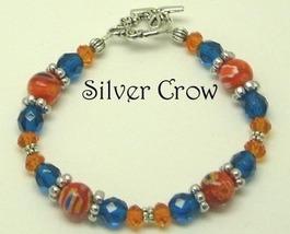Orange Millifiori, Orange Crystal,  Blue Zircon Glass Silver Bracelet - $329,45 MXN