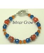 Orange Millifiori, Orange Crystal,  Blue Zircon Glass Silver Bracelet - $16.99