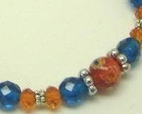 Orange Millifiori, Orange Crystal,  Blue Zircon Glass Silver Bracelet