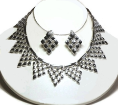 60s Silver-tone Diamonds Metal Bib Necklace & Drop Clip Earring Demi Par... - $45.00
