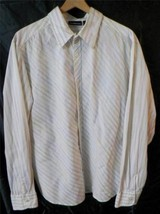 DKNY Jeans Button-Front Long Sleeve Mens XXL 2XL White w Colorful Stripes - $14.24