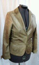 Aeropostale Light Brown Distressed 100% Leather Jacket Jr. Sz L / Womens... - $85.49