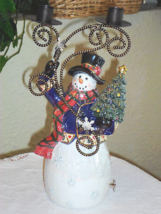 San Francisco Music Box Christmas Snowman Musical Candle Holder - $39.99
