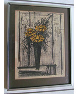 "Vintage circa 1968  ""Flowers""  Litho Print Signed Bernard Buffet in the ... - $324.99"