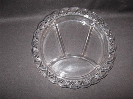 CRYSTAL CLEAR GLASS FOUR PART RELISH PLATE WITH OPENWORK RIM - $19.30