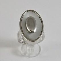 Ring aus Silber 925 mit Perlmutt Weiß Schnitt Oval image 2