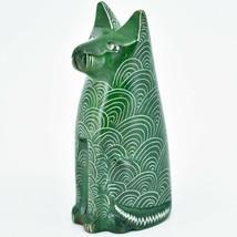 Vaneal Group Hand Carved Kisii Soapstone Green Sitting Kitty Cat Figurine Kenya image 2