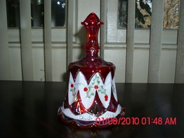 EXCELLENT USED FENTON HAND PAINTED CHRISTMAS BELL - RED - CHRISTMAS 1996 - $19.79