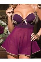 Unomatch Women Bra Desinged Thin Underwear Lingerie Set Purple - $19.99