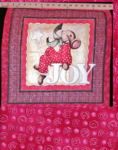 1 Rare Christmas Merry Mice Pillow Square, Joy Mouse, 1 FQ Red,Pink Quil... - $14.10