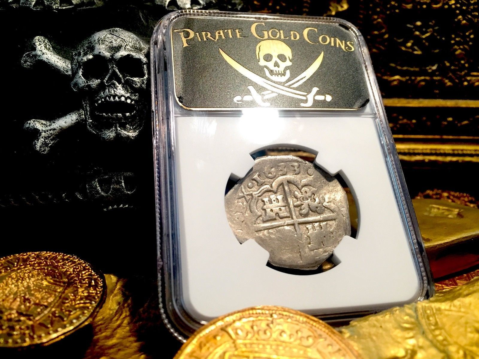 SPAIN 4 REALES 1633 SEVILLE NGC DET PIRATE GOLD COINS TREASURE SHIPWRECK JEWELRY