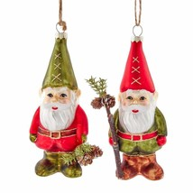 KURT ADLER SET OF 2 SANTA GNOME GLITTERED GLASS CHRISTMAS ORNAMENTS T2804 - $28.88