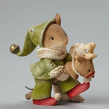 "Enesco Department 56 Heart of Christmas ""Mouse On Toy Reindeer"" Stone Re... - $25.97"