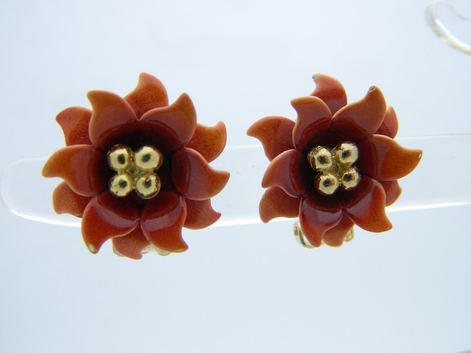 CORO Orange Red Enamel Flower Gold Tone Clip-On Earrings Vintage