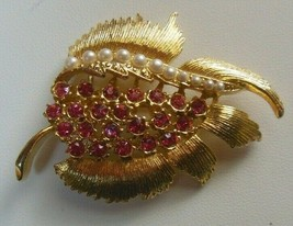 Signed GERRYS Pink Rhinestone & Faux Pearl Leaf Brooch  - $18.80