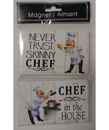 FAT CHEF FRIDGE MAGNETS 2pc Set Ceramic 4in x 2.5in Never Trust Skinny C... - $12.99