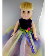Fiber Craft Doll Blonde Blue Eyed Vinyl Cloth Torso in dress with purple... - $14.25