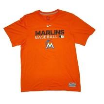NIKE Miami Marlins Baseball Men's Dri-Fit T-Shirt Size Medium Orange MLB - $18.52