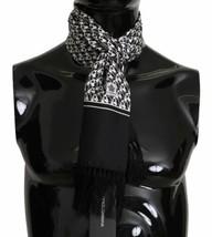 Dolce & Gabbana Mens Black and White Dog Print 100% Silk Wrap Scarf 16cm... - $132.66