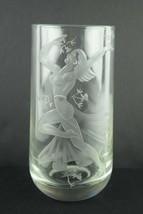 Beautiful Vintage Thick Etched Glass Flower Vase Art Nouveau Nude Woman ... - $56.96