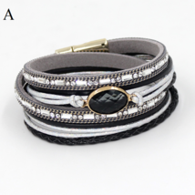 Multi-layer Winding Wrap Leather Crystal Bracelet Handmade Bracelets - $6.95