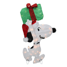 32 Pre-Lit Peanuts Snoopy with a Present Christmas Outdoor Decoration - $60.13