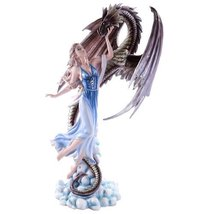 Large Dragon and Fairy Rising Above Clouds and Stars Statue Collectible 22 Inch - $118.79