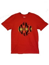 Men's S SM Nike Graphic T-Shirt Athletic Cut Red Black Yellow Orange 902408 657 - $17.75