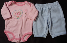 Girl's Size NB Newborn Two Piece Carter's Pink Snail Embroidery Top & Blue Pants - $11.50