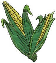Corn on the cob maize veggies vegan embroidered applique iron-on patch S... - £2.24 GBP