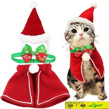 Cute Dog Cat Pet Christmas Santa Cloak Costume and Collar Bow Tie for Pu... - $22.16