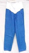 Maternity Scrub Pants L Blue Denim Jeans White Stretch Panel Elastic Wai... - $18.40