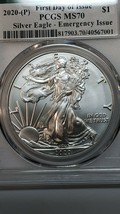 2020 P SILVER EAGLE Dollar $1 EMERGENCY ISSUE PCGS MS70 FDOI Coin Sku C135 image 2