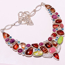 109 GMS NATURAL DICORIC GLASS,RHODONITE,MULTI STONE.925 SILVER NECKLACE ... - $44.87