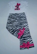Happy birthday girls size 3T zebra print pink 2 pc outfit leggings shirt... - $21.29