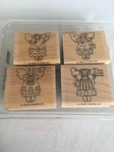 Stampin Up Angels Mini Mounted Stamp Set of 4 Rabbit Gardener Garden Cra... - $9.00